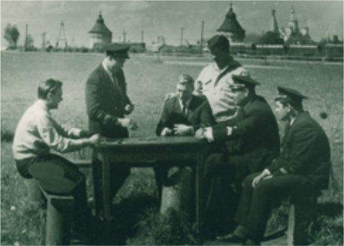 Аэродром в Прилуках. Летный состав на предполетном отдыхе. Середина 50-х годов